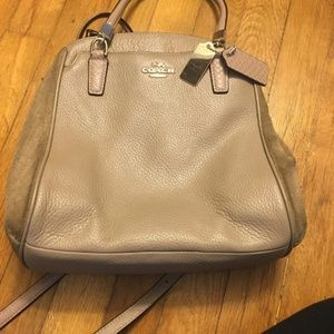 Tan Suede and Leather Coach Bag